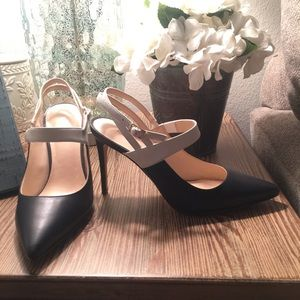 Navy and white slingback heels